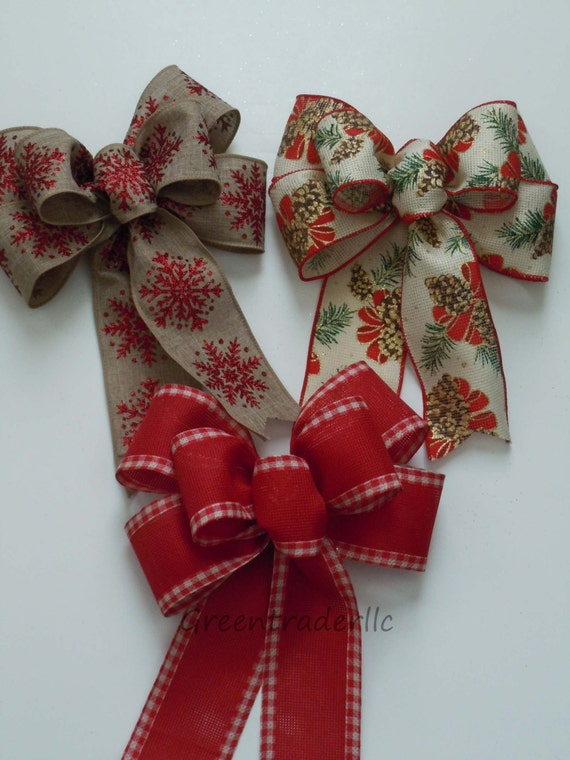 Rustic Burlap Christmas Bow burlap Wreath Bow Christmas Burlap Tree Bow Burlap Ornament Bow Burlap Gift Bow Christmas Burlap Door Decoration