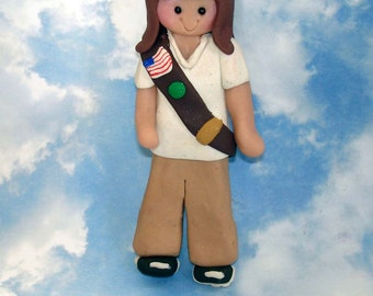 Brownie Scout Christmas Ornament Sash Patches Awards Polymer Clay Milestone Cake Topper Cookies Daisy Troop Leader Vest Uniform