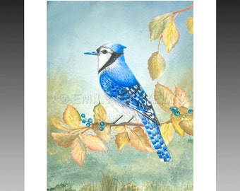 Bluejay Greetings Stationery Note Card songbirds Blue Birds Framable Art Print Paintings Home Decor