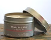 Strawberry Kiwi Soy Candle Tin 4 oz. - strawberry candle - kiwi candle - tropical candle - fruit soy candle - summer candle - fresh scent