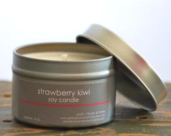 Strawberry Kiwi Soy Candle Tin 4 oz. - strawberry candle - kiwi candle - tropical candle - fruit soy candle - summer candle - fresh scent