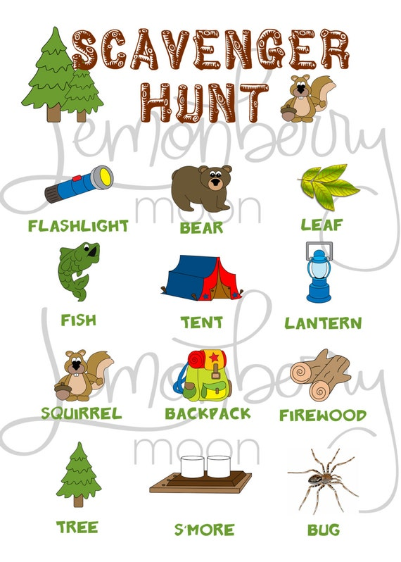 Items similar to Camping Themed Printable Scavenger Hunt Party ...