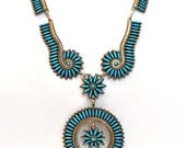 Vintage Zuni Sterling Silver and Turquoise Signed Pettipoint Necklace