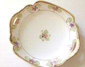 Vintage Nippon Handpainted Fine Porcelain Double Handle Dish Cottage Style Table Decor
