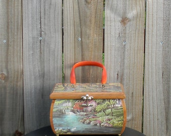 Vintage 60s 70s Decoupage Pastoral Idyllic Farm Rural Lake Cow Winter Novelty Print Motif Wooden Keepsake Box Black Wooden Purse with Handle