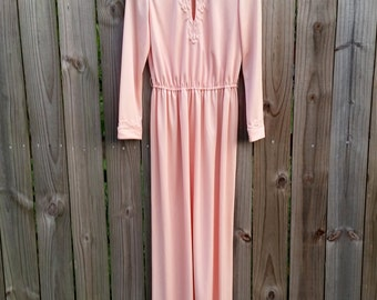 S M Small Medium Vintage 70s 80s Peach Long Sleeve Hippie Indie Festival Boho Mod Bridesmaid Indie Hipster Keyhole Neck Long Maxi Dress