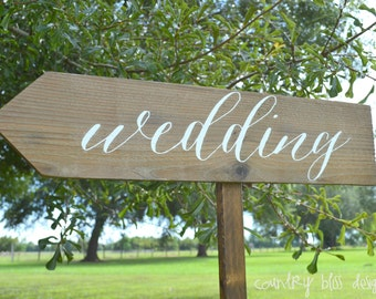 Custom Wedding Sign, Wooden Wedding Sign, Wedding Sign, Reception sign, Wedding Arrow Sign, Wedding Calligraphy Signs, Beach Wedding sign