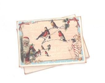 Christmas Card, Vintage Santa, Birds, Winter Wonderland, Holiday Card, Dreamy, Snow, Woodland Christmas Card, Victorian, Red and Blue Card