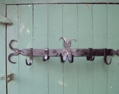 Hand Forged Metal Wall Mounted Pot Rack- Antique/Vintage look, made by a real Blacksmith!