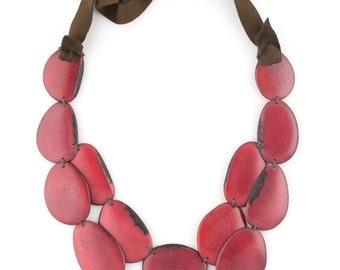 Tagua Statement Necklace / Tagua Jewelry / Tagua Necklace / Red Necklace / Statement Necklace / Fair Trade Jewelry / Tagua Nut Jewelry