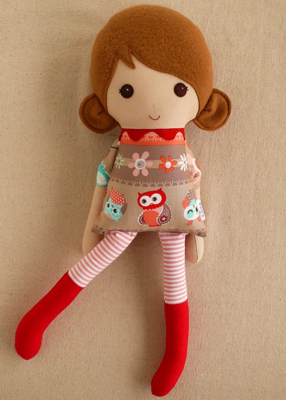 Fabric Doll Rag Doll Brown Haired Girl in Owl Print Dress and Red ...