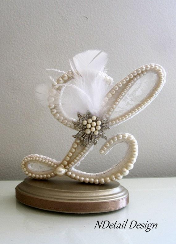 Pearl Wedding Cake Topper Wedding Cake Topper Monogram
