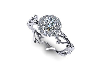 Cascading Braches Half Carat Diamond Engagment Ring with Halo 14K Gold