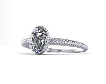 Fishtail Braided Engagement Ring with Half ct Oval Daimond 14K Gold