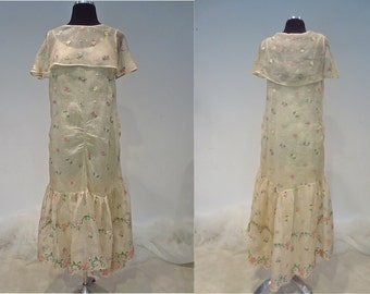 1920's Sheer Organza Garden Party Dress with Embroidered Flowers, Capelet Collar, Shirring, and Flounced skirt