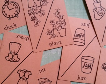 Vintage Flash Cards Picture and Word Take Game Cards | Pink