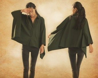 Loose Blouse / Green Oversized Top / Viscose Casual Tunic