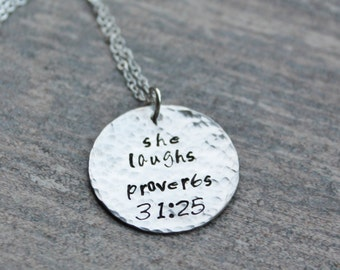 She laughs Pendant, Hand Stamped She laughs Necklace, Sterling Silver