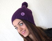 Machine knit Hat Womens Hat - Cloche Hat in Pine Purple - button hat  - Chunky Knit Winter Accessories