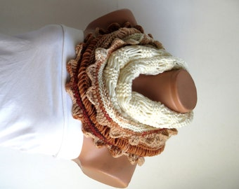 Knit Block scarves, Chunky Cowl, Neckwarmer, Cream Brown Infinity Scarf Knitted Chunky Scarf, Woman Accessory, Gift For Her, Cozy Cowl