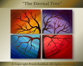 """Eternal Tree Large Abstract painting 3x4 ft total Four 18x24"""" gallery wrapped canvases"""