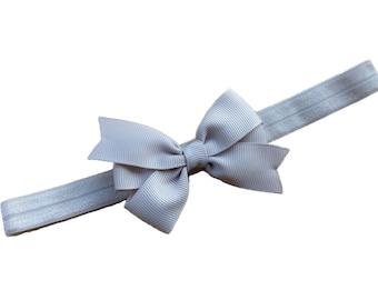 Light gray bow headband - gray baby headband, gray newborn headband, bow headband, baby bow headband, baby girl headband, infant headband