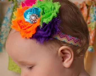 Newborn Headband, Baby Headband, Toddler Headband, Rainbow Headband, Birthday Headband