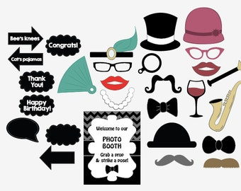 20s Photo Booth Props PRINTABLE digital 1920s photobooth props Roaring 20s party