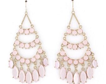 Exquisite Gold-tone Bohemia Feel Light Pink/White Beaded Chandelier Dangle Drop Earrings