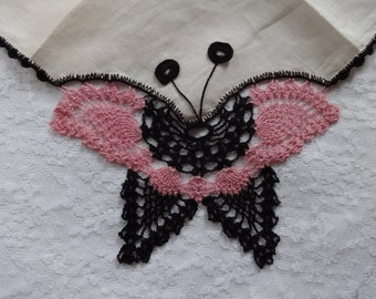 Vintage Hanky with Crocheted Butterfly | Vintage Doily | Asian Decor | Table Dresser Scarf