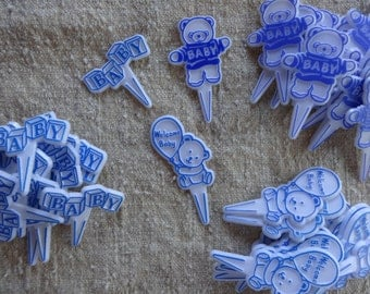 Cupcake Picks Cake Toppers for Baby Boy Shower Party 50 Bright Blue Favors Decor Bears Balloons Blocks Cake Decorations Baking Supplies