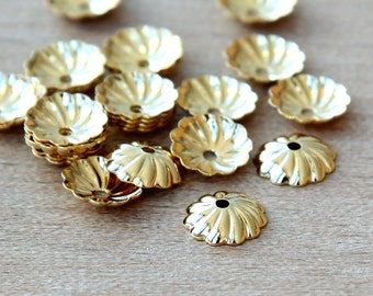 Bead Caps, Gold Plated Brass, 7mm Swirl - 40 pcs - eBCR009-GP