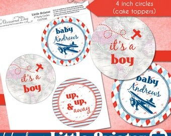 Little Aviator CUSTOM 4 inch Party Circles • PRINTABLE • Baby Shower • by The Occasional Day