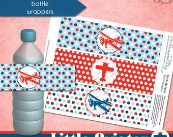 Little Aviator Bottle Wrappers • PRINTABLE Birthday Baby Shower • by The Occasional Day