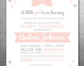 Little Girl Baby Shower Invitation with Bow and Dots, Pink and Gray, Printable, Customizable #120
