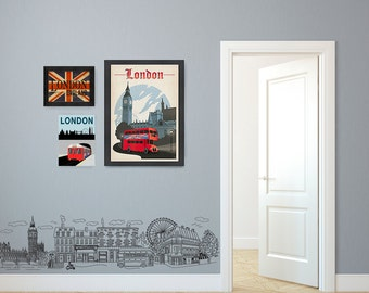 Whimsical Doodled London Big Ben Tower Street and City Scene - Wall Decal Custom Vinyl Art Stickers