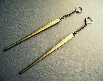 Tribal Spike Earrings - Long Drop Earrings - Tribal Brass Earrings - Gold Spike Earrings - Long Chain Earrings - Long Tribal Earrings - PAIR