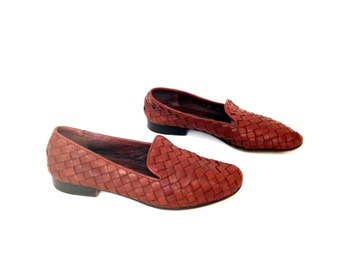 Woven Leather Flats 7 - Brown Leather Loafers 7 - Minimal Flats 7 - Leather Moccasins 7 - Brown Leather Flats 7