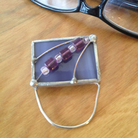 eyeglass holder stained glass pin purple