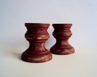 Hand-Distressed Rustic Candle Holders - Small Candle Cups - Shabby Christmas Decor - Little Candle Sticks - Holiday Winter Decoration