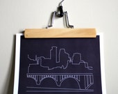 Minneapolis Skyline Outline Print - Choose Your Color