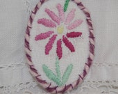 Embroidered Brooch - re-purposed vintage linen pink daisy framed by couching