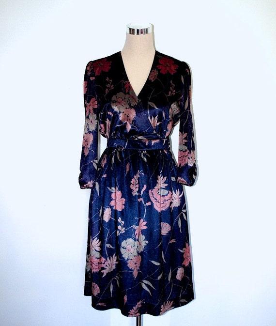 Susan Small Vintage Dress. Floral velvet dress. 1970's wrap over dress. Made in England.
