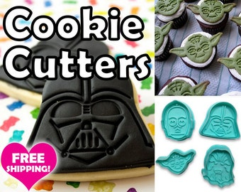 Star Wars 4pcs Cookie Cutter Set w/ Spring Loaded Handle Fondant Stamps Stencils and Forms Trace Perfect Party Cookies Everytime USA Seller