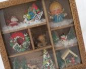 Christmas Shadow Box - Vintage Christmas Decoration - Mid Century Christmas - Christmas Wall Decoration - Free Shipping