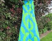 Vintage Hawaiian Dress -  Tropical Summer Dress Sale - Keone Sportswear - Turquoise Green Muumuu - Hawaiiian Print Dress - Free Shipping