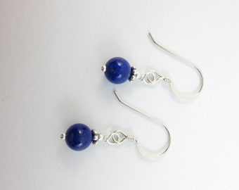 Lapis Lazuli Earrings - Bridesmaid Earrings - Blue Earrings - Best Friend Earrings - Bead Earrings - Dangle Earrings - On Silver or Gold