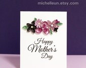 Handmade Mother's Day Card with purple paper quilled flowers