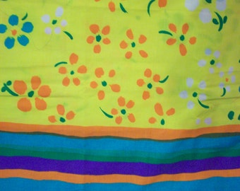 """MOD FLOWERS 97"""" of Groovy Fabric for Valances Tiers Pillows Dust Ruffle Bed Skirt"""