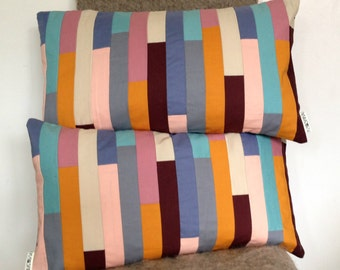 Stripe Cushion Cover Patchwork Pair